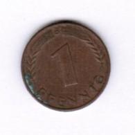 """GERMANY  1 PFENNIG 1950 """"D"""" (KM # 105) #5279 - [ 7] 1949-… : FRG - Fed. Rep. Germany"""