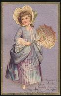 BELLE FILLETTE  MOOIE MEISJE IN PRACHTIGE KLEDERDRACHT   RELIEF  GAUFRE  1905 - Enfants