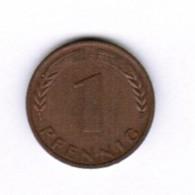 """GERMANY  1 PFENNIG 1950 """"F"""" (KM # 105) #5281 - [ 7] 1949-…: BRD"""