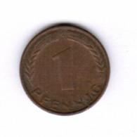 "GERMANY  1 PFENNIG 1950 ""G"" (KM # 105) #5282 - [ 7] 1949-…: BRD"