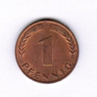 """GERMANY  1 PFENNIG 1966 """"D"""" (KM # 105) #5283 - [ 7] 1949-… : FRG - Fed. Rep. Germany"""
