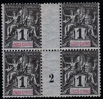 INDOCHINE - N°  3** - MILLESIME 2 EN BLOC DE 4 - (petits Renforts Au Verso) - Indochina (1889-1945)
