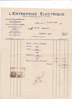 Facture Timbrée 1932 L'Entreprise Electrique, Rue D'Anthoine, Marseille - Electricity & Gas
