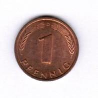 """GERMANY  1 PFENNIG 1986 """"D"""" (KM # 105) #5285 - 1 Pfennig"""