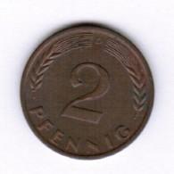 """GERMANY  2 PFENNIG 1961 """"D"""" (KM # 106) #5287 - 2 Pfennig"""