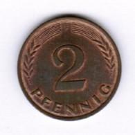 """GERMANY  2 PFENNIG 1967 """"F"""" (KM # 106) #5289 - 2 Pfennig"""