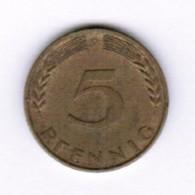 """GERMANY  5 PFENNIG 1969 """"D"""" (KM # 107) #5291 - 5 Pfennig"""
