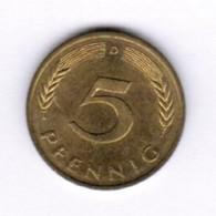 """GERMANY  5 PFENNIG 1991 """"D"""" (KM # 107) #5292 - [ 7] 1949-… : FRG - Fed. Rep. Germany"""