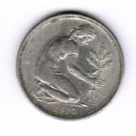 """GERMANY  50 PFENNIG 1970 """"D"""" (KM # 109.1) #5294 - [ 7] 1949-… : FRG - Fed. Rep. Germany"""