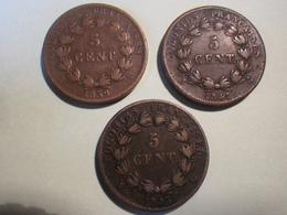 Cinq Centimes 1839/41/43 (3 Piéces) Colonies Françaises Louis Philippe I - Colonies