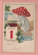 OLD  POSTCARD -    EMBOSSED  1908 - HAPPY NEW YEAR - MUSHROOM AS HUMAN BEING - Autres