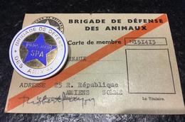 SPA Brigade Défense Animaux Carte Membre Bernaux Plus Badge Journal Paris Jour Amiens - Cartes De Visite