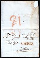 """1835. CÁDIZ A SANTANDER. MARCA """"CADIZ"""" LINEAL EN ROJO. PORTEO """"12"""" CUARTOS. POCO LEGIBLE. GUARISMO """"13"""" TIPO GRANDE. - ...-1850 Prefilatelia"""