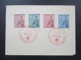 3. Reich Böhmen Und Mähren 1942 Nr. 85-88 Roter Sonderstempel Prag 1 Führers Geburtstag Propaganda - Briefe U. Dokumente