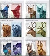 ROMANIA, 2019, PROTECTED FAUNA, Birds, Lynx, Bears, Deer, Goats, Cats Of Prey, Set Of 4 + Label, MNH (**); LPMP 2237 - 1948-.... Repubbliche