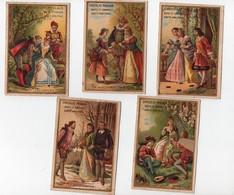 CHROMO Chocolat Poulain Moyen-âge La Présentation La Confidence Marchande De Fleurs Hommages Adieux (5 Chromos) - Poulain
