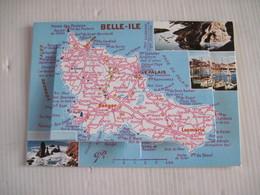 CPSM 56 BELLE-ILE-EN-MER - Carte à Système Dépliant 13 Vues - Carte Géographique TBE - Belle Ile En Mer