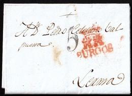 """1823. BURGOS A LERMA. MARCA EN ROJO CON CASTILLOS. PORTEO """"5"""" CUARTOS EN NEGRO. MUY BONITO EJEMPLAR. - Spanien"""