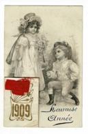 """Carte Illustrée Avec Collage Calendrier 1909, Ruban Rouge """"Heureuse Année"""" - Circulé Sans Date - Thanksgiving"""