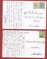 Knipsels Uit Postwaardestukken Gebruikt Als Frankering Op 2 Wenskaarten - Errors And Oddities