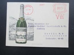 Deutsches Reich 1929 Werbepostkarte Doppelkarte Deutscher Sekt Freistempel VW / Vereinigte Weingutsbesitzer Koblenz - Werbepostkarten