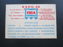 Belgien 1958 Expo Werbepostkarte EKLA Vandenheuvel Atomium Dicke Karte Aus Karton! - Werbepostkarten
