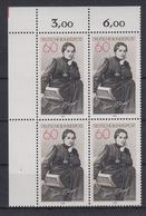 Bund 1001 4er Block Eckrand Links Oben Agnes Miegel 60 Pf Postfrisch - BRD