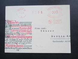 DR 1928 Werbepostkarte Cords Berlin W 8 Einladung Zur Präsentation Der Stoffneuheiten! Kleiderstoffe. Roter Freistempel - Werbepostkarten