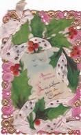 """37. CARTE FANTAISIE.SUPPORT PLASTIQUE.""""BONNE ANNEE"""" BORDS FAÇON DENTELLE MOTIFS EN PLASTIQUE ET RUBAN AJOUTES ANNEE 1913 - Cartes Postales"""