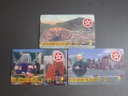 Private Issued Autelca Phonecard,Hongkong Return To China,Chairman Deng', Set Of 3,mint - Hong Kong