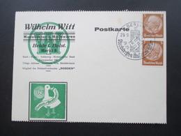 AK Werbepostkarte 1937 Wilhrelm Witt Modeware / Betten / Bettfedern. SST Berlin Staatstreffen Mussolini - Hitler - Werbepostkarten