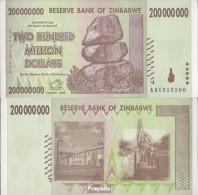 Simbabwe Pick-Nr: 81 Bankfrisch 2008 200 Mio. Dollars - Zimbabwe