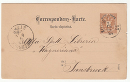 Austria Montenegro Postal Stationery Postcard Travelled 1884 Kotor Cattaro Ti Innsbruck B190610 - Montenegro