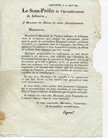 CIRCULAIRE DU SOUS-PREFET DE LIBOURNE 1809 AUX MAIRES. EVASION DES PRISONNIERS ESPAGNOLS HOSPITALISES - Decreti & Leggi