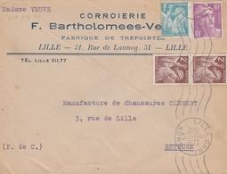 650+653+811 - OBLIT. LILLE GARE 04/49 - CORROIERIE / CUIR - Curiosités: 1945-49 Lettres & Documents