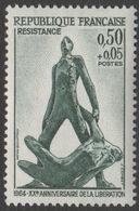 France 1964 Neuf Sans Charnière  Anniversaire De La Libération Seconde Guerre Mondiale Résistance YT 1411 - WO2