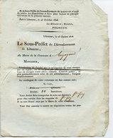 GIRONDE 33 LUGAIGNAC CIRCULAIRE DU SOUS-PREFET DE LIBOURNE 1808 PASSAGE DE LA GRANDE ARMEE FOURNITURE D'AVOINE - Decreti & Leggi
