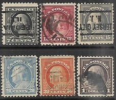 US  1917  Sc#507, 512, 514-6, 518  6 Diff Washington/Franklins To The $1 Used Perf 11 2016 Scott Value $6.60 - United States