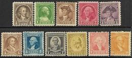 US   1932  Sc#704-10, 712-5  11 Diff  MH   2016 Scott Value $19.50 - Unused Stamps