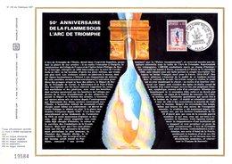 DOCUMENT OFFSET FDC 1973 50 ANS FLAMME ARC DE TRIOMPHE - FDC