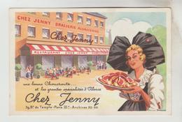 CPSM PARIS 3° ARRONDISSEMENT - CHEZ JENNY Restaurant Brasserie Alsacienne 39 Boulevaed Du Temple - Paris (03)