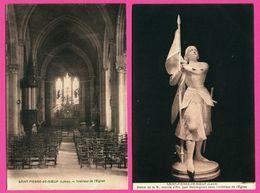 2 Cp - Saint Pierre De Boeuf - St Pierre De Boeuf - Intérieur De L'Eglise - Statue De La B. Jeanne D'Arc Par DESVERGNES - Otros Municipios