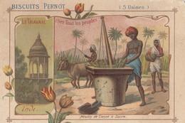 (CHROMO ET IMAGE Publicitaire)(8.5x12) BISCUIT PERNOT  Le Travail Chez Tous Les Peuples  Inde Moulin De Cannes A Sucre - Pernot