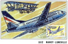 France -1992-yt 2778 Sur Carte.- Liaison Aérienne Nancy-Lunéviile(transport Par Voie Aérienne Vol Commemoratif) - France