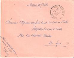Yonne:- AUXERRE Franchise Manuscrite EAUX ET FORETS CLOS PAR NECESSITE DE SERVICE - Postmark Collection (Covers)