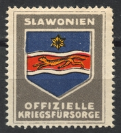 Slavonia Slavonija CROATIA Coat Arms WW1 Austria Hungary KuK Kriegsfürsorge Military WAR Aid LABEL CINDERELLA VIGNETTE - Croazia