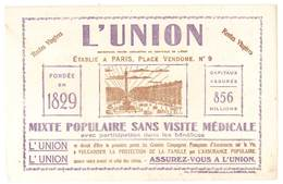 Buvard Assurances L'Union, Rentes Viagères, Mixte, Populaire ...., établie à Paris, Place Vendome N°9 - Buvards, Protège-cahiers Illustrés