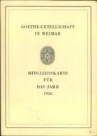 """GOETHE, 1956, Mitgliedkarte """"Goethe-Gesellschaft Zu Weimar"""", RR! - Schriftsteller"""
