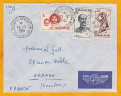 15 Janvier 1951 - Enveloppe De Kerguelen Vers Tananarive, Madagascar Par SS ITALO MARSANO Puis Par Avion Vers Orange- - French Southern And Antarctic Territories (TAAF)