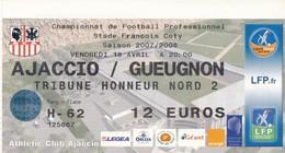Ticket Football Ajaccio /Gueugnon Saison   2007/2008 - Autres